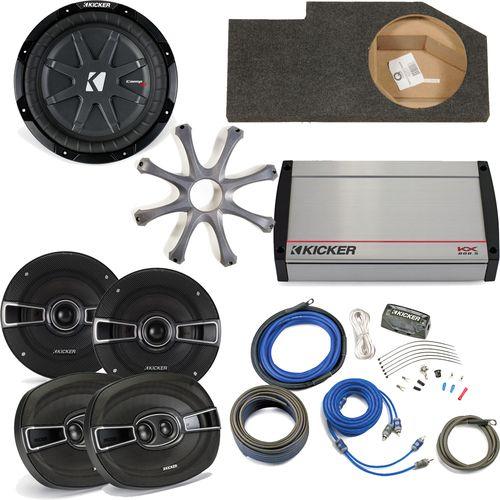 """Kicker for Dodge Ram Quad/Crew 02-15 - 10"""""""" CompRT w/ grille, KS 5.25"""""""" speakers, KS 6x9 Speakers, KX800.5 & Wiring Kit"""