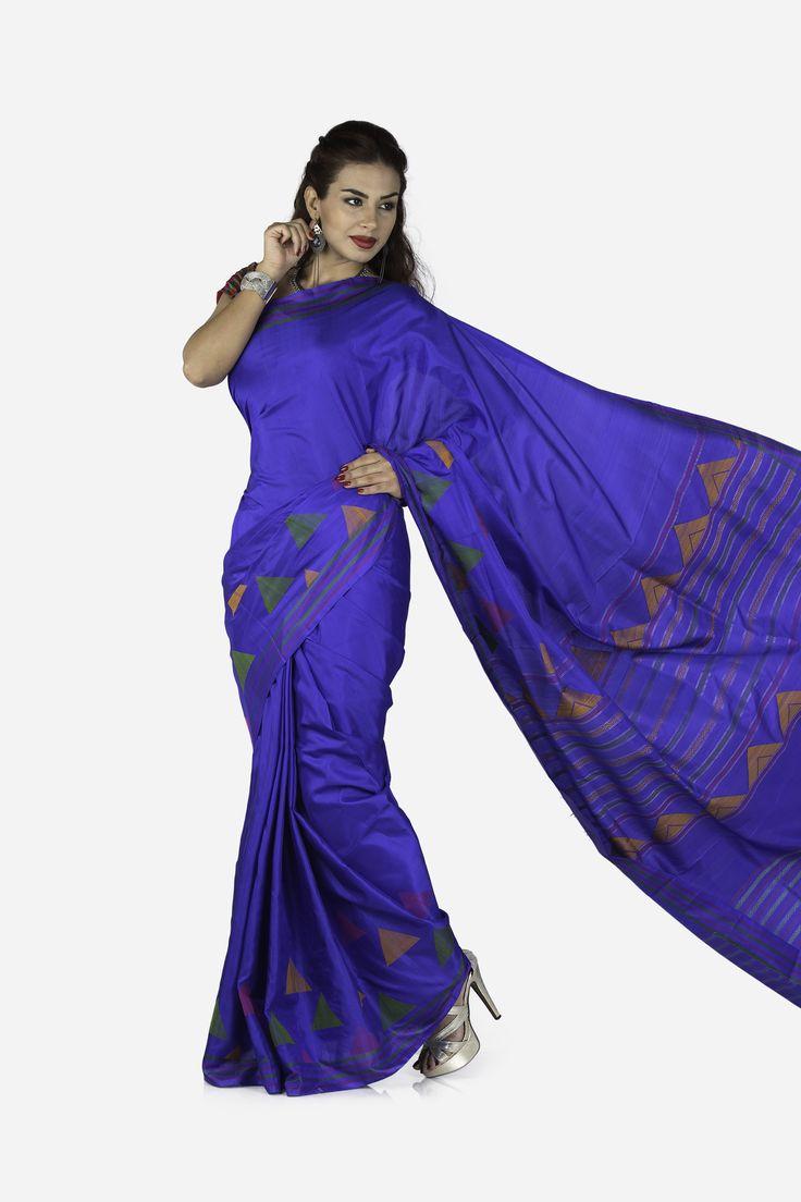 Goumetri Trikon-Work Pure Soft Silk Saree from Uppada