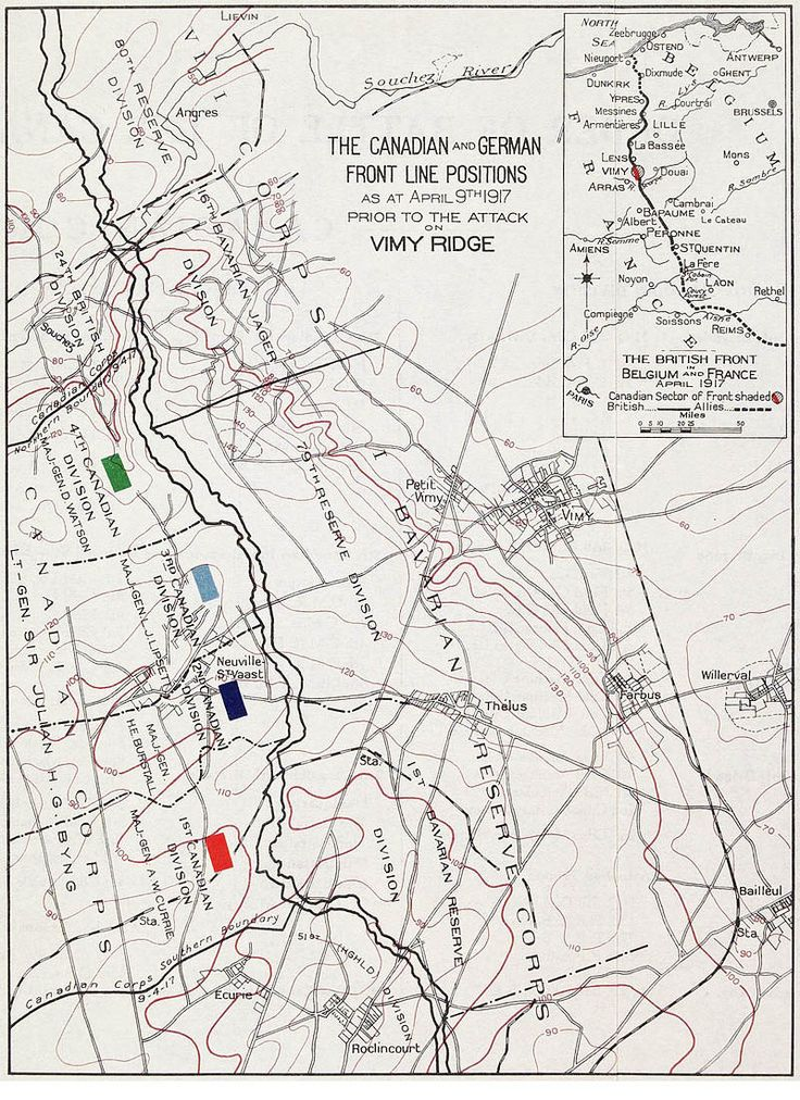 Disposition of the Canadian Corps and Imperial German forces at Vimy Ridge, April 1917. The 72nd Battalion, assigned to 12th Brigade, 4th Division, held the very left of the Canadian front.