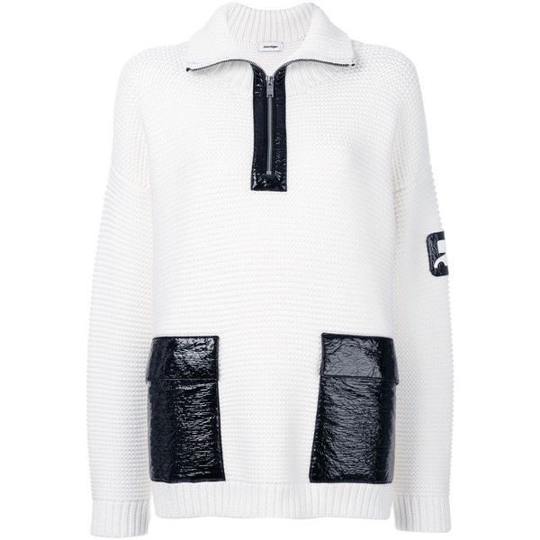 Courrèges zipped high neck jumper ($855) ❤ liked on Polyvore featuring tops, sweaters, white, zip jumper, high neckline tops, zipper top, zip top and white zipper sweater