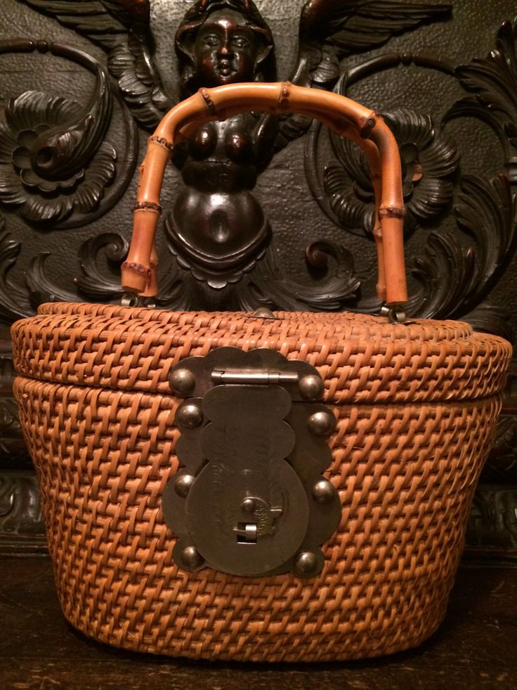 Vintage Asian Basket- Rattan- Tea Caddy -Warmer Basket with Decorative Metal Closures-Circa 1950 by MidCenturyAmericana on Etsy