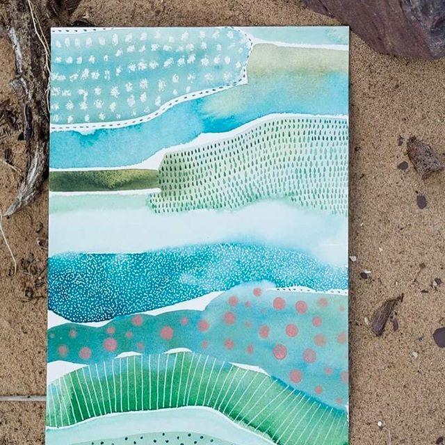 """""""The Grass is Greener"""", Aquarell-, Acryl- und Ölmalstift auf Arches-Papier …"""