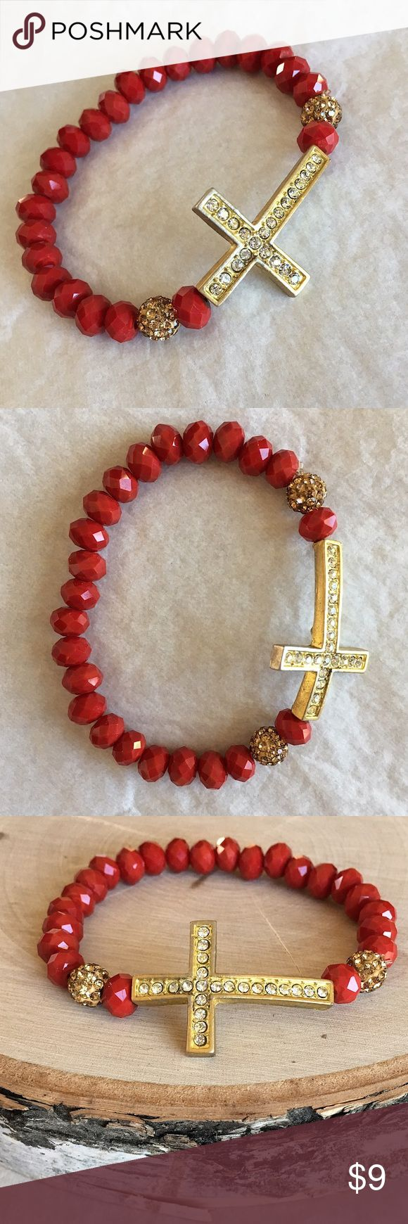 Cross Bracelet How adorable is this red beaded bracelet with a gold and ring stone cross accent!? Jewelry Bracelets