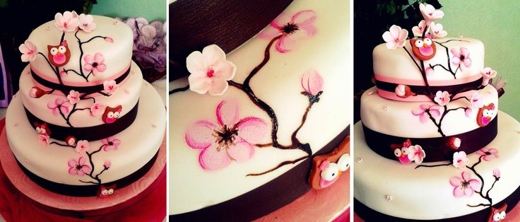 Flores de cerezo pintadas a mano y en 3D