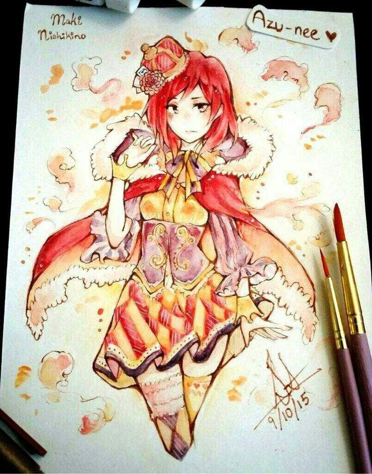 Artwork by Azu on Anime Amino http://aminoapps.com/page/anime/1936083/watercolor-maki-nishikino