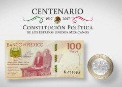Emiten billete y moneda conmemorativos del centenario de la Constitución Mexicana