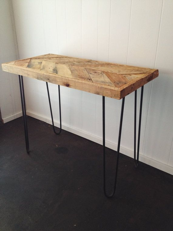 Salvaged Wood Desk, Chevron Pattern Desk, Hairpin Leg Desk, Handmade