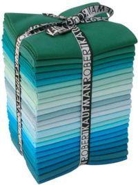 Kona Cotton Solids Grecian Waters Colorway Fat Quarter Bundle