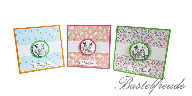 Easter Card - Osterkarte - Osterhase - Ostereier- Klappkarte - Blau, Rosa, Grün