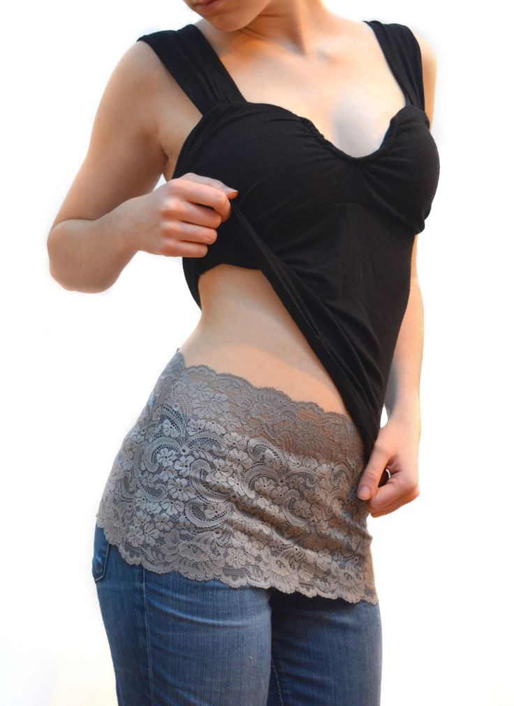 Silver lace Camiband Shirt extender or multi-use it up top to cover cleavage as a faux cami!