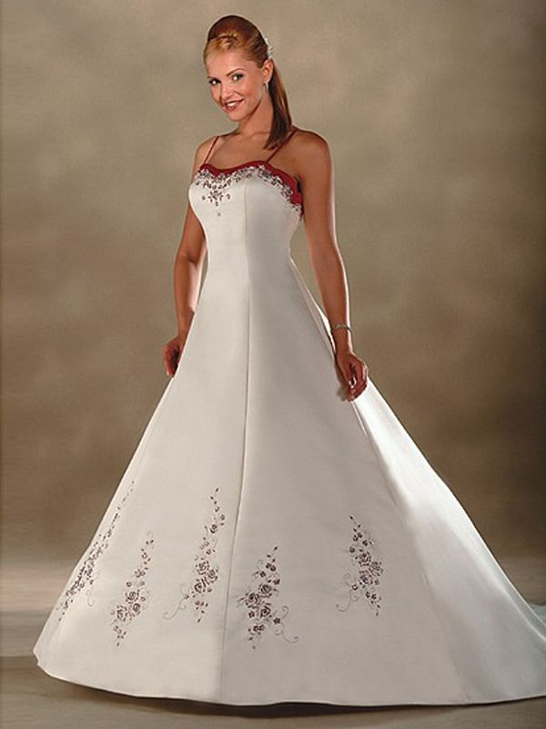 Modest Sweetheart A-line Satin With Embroidery Sweep Train Wedding ...
