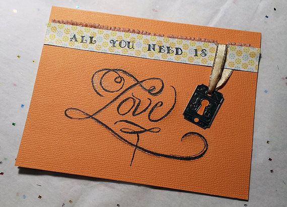 Hand painted and hand lettering   Handmade orange romance Card, Love Card, Unique love Card, Elegant valentine Card