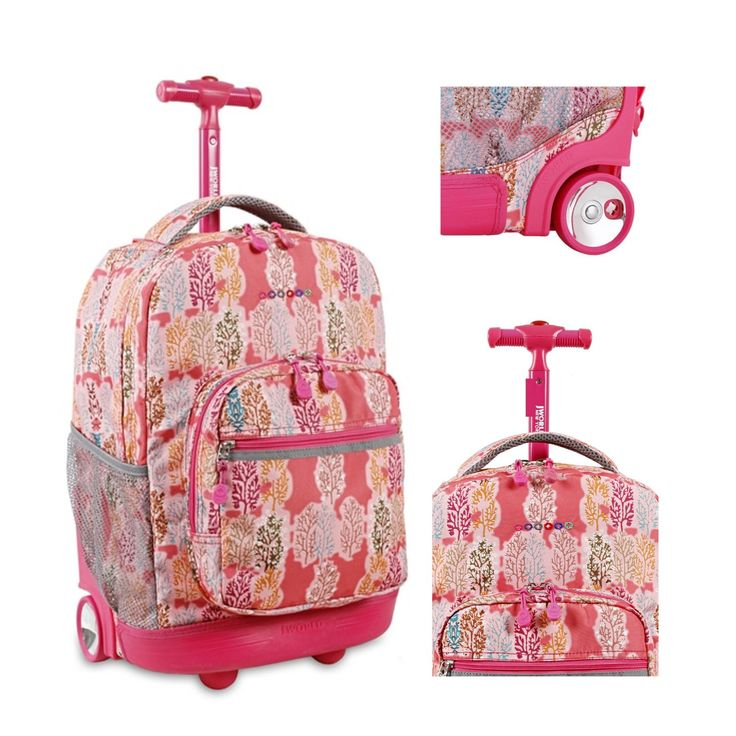 "Girls Rolling Backpack Wheeled School Student Book Bag 18"" Pink Carry On Trolley"
