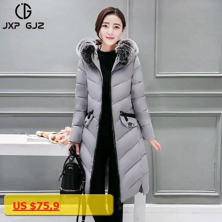 JXP GJZ Winter Women Jacket Coat Parka Black Zipper Full Sleeve Slim Thick Hooded Parkas Regular Plus Size Parkas Femme 4XL XXXL
