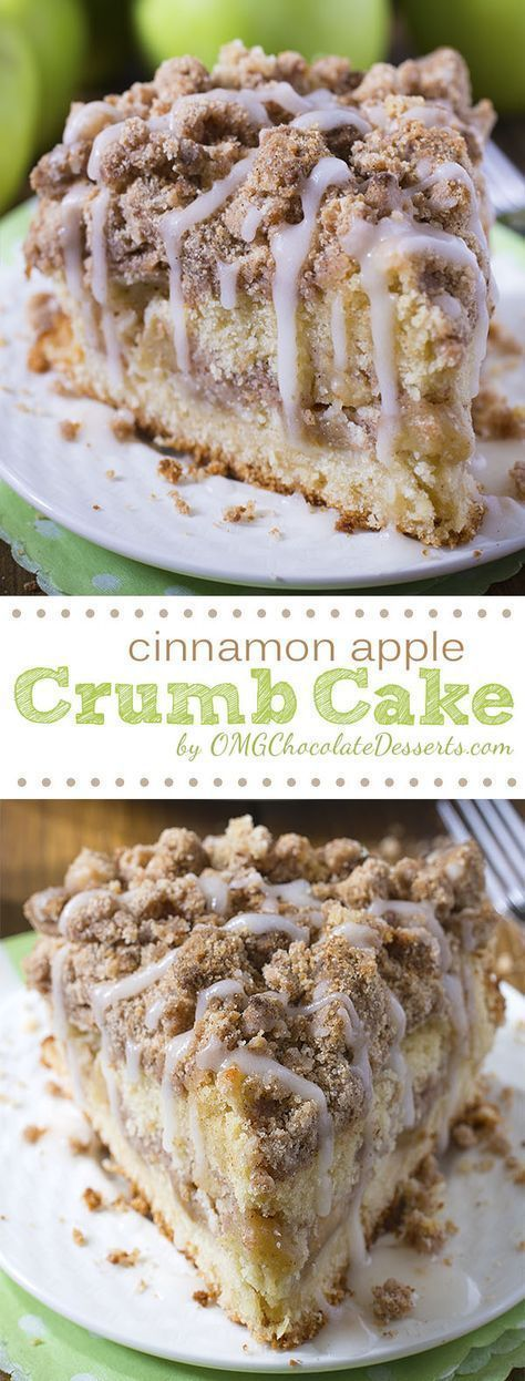 The perfect dessert for crisp fall and winter weather coming up! Cinnamon Apple Crumb Cake Recipe | OMG Chocolate Desserts