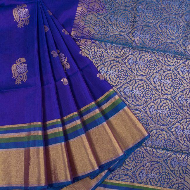 Handwoven Blue South Silk Saree With Floral Motifs 10018607 - AVISHYA.COM