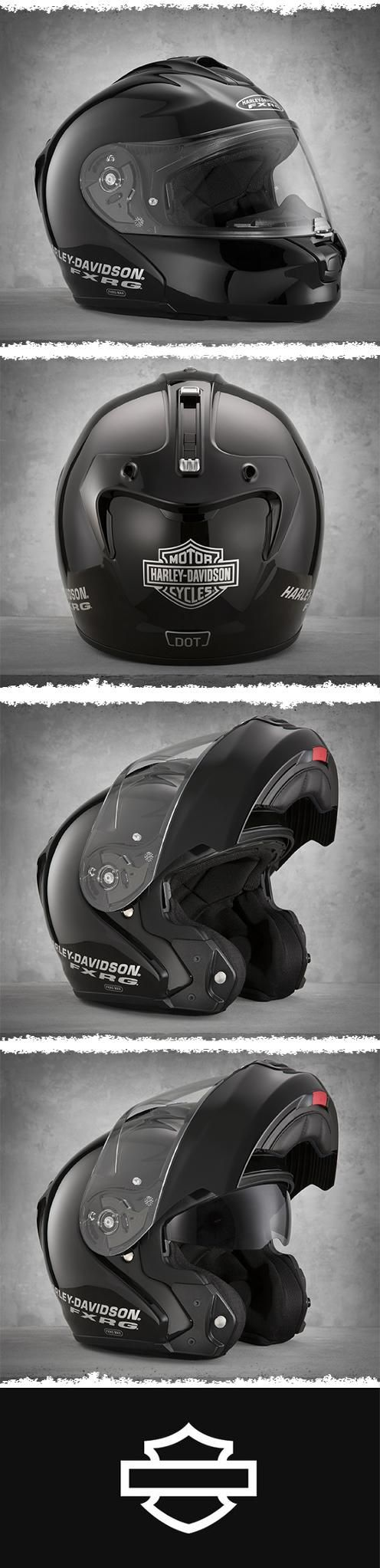 Extremely quiet, even at high speeds and has the convenience of a retractable sun shield that deploys quickly and easily with one touch. | Harley-Davidson Men's FXRG Modular Helmet
