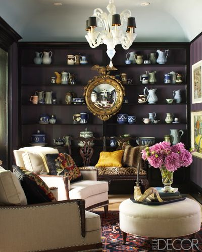 Love the mirror hung in the middle of the display shelves  xo--FleaingFrance: Wall Colors, Living Rooms, Elle Decor, Architecture Interiors, Design Interiors, Interiors Design, Display Shelves, Dark Wall, Decor Blog
