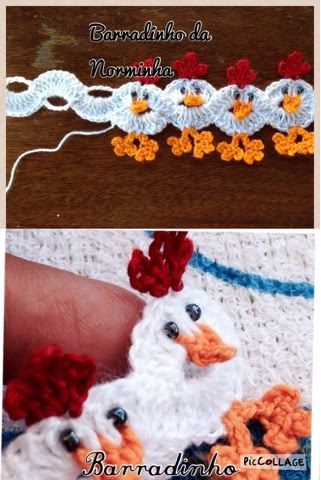 Crocheted Chickens (border) photo tutorial, use Google translation if you cannot read it
