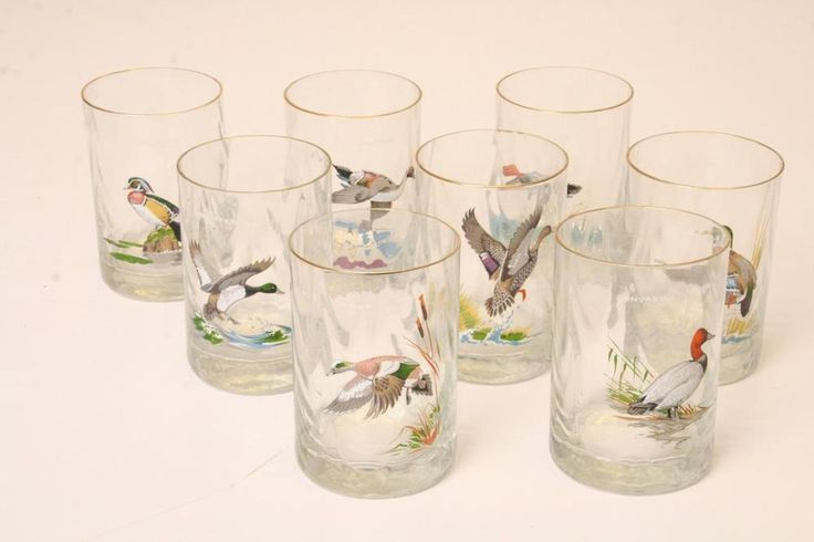 8 Vintage NED SMITH GLASS SET drinking BIRD HUNTING Duck bar tumbler Gold Rimmed