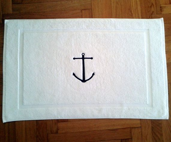 Nautical his and hers BATH MAT-Tub mat- Name embroidery- egyptian cotton 700gr, special gift- wedding gift-aniversary gift