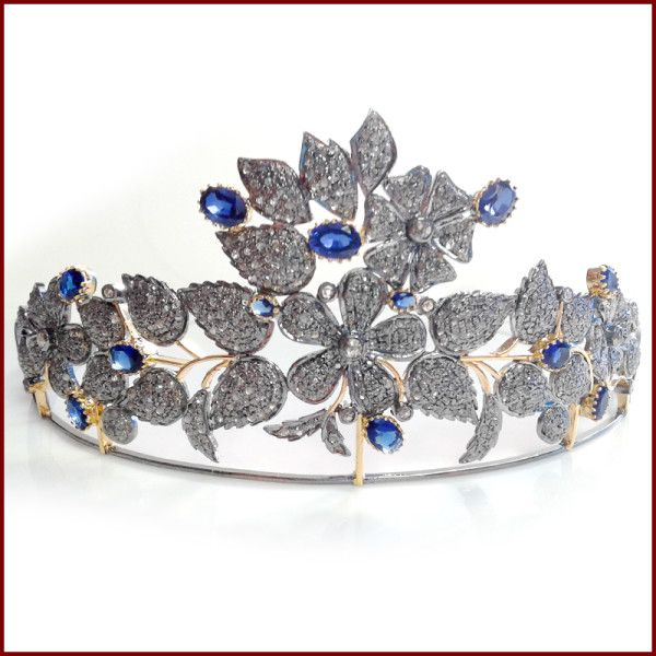 19.21 Ct Rose Cut Diamond Blue Sapphire .925 Sterling Silver Party Tiara Crown