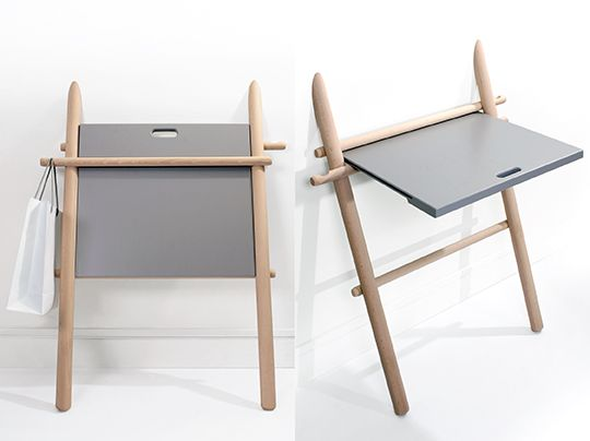 """eno, <a href=""""http://www.enostudio.net"""">http://www.enostudio.net</a>  """"Appunto"""" est un meuble d'appoint, une structure qui se déploie pour devenir une table. Elle accompagne les usages du quotidien dans une chambre, la salle de bain, l'entrée ou la cuisine.  Elle a été dessinée autour de l'image d'un objet posé contre un mur.  C'est une fonctionnalité qui """"tombe à pic """" pour prendre des notes, dessiner ou vider son sac ..."""