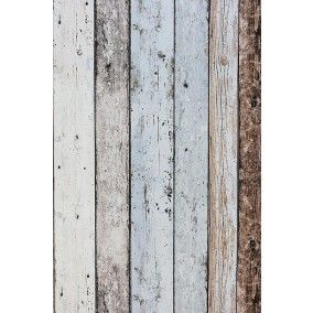 Steigerhout Vliesbehang Blauw/Bruin bij Behangwebshop.nl (snelle levering!)  Eventueel hoofdeinde bed hiermee behangen (met vernislijm - Mod Podge - Deco patch - of variant...)