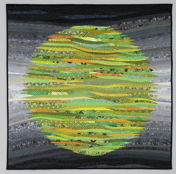 Green circle. Modern quilt. Wall art. Original fiber art. Abstract textile art. Modern home decor. Abstract textile art. Contemporary.