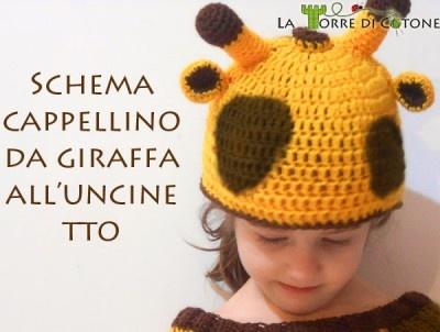 Schema gratuito per realizzare un cappellino da giraffa, in lana per l'inverno o in cotone per la primavera