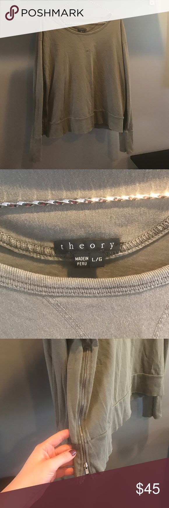Theory Top, Casual - Can't beat this price! Casual Theory Top/Light Sweatshirt. Army green. Large but would look great slouchy on a smaller frame. Great zipper detail on both sides. Freshly steamed! Theory Tops