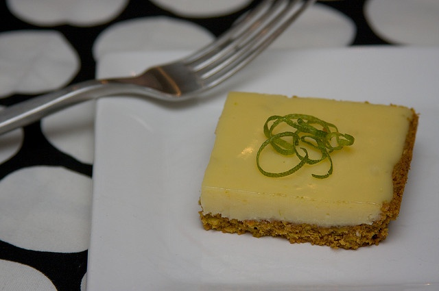 lime bars with pistachio graham cracker crust. Made them myself, I ...
