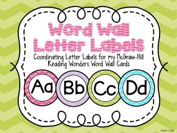 These circle word wall letter labels are color coordinated to match the Wonders sight word cards in my store, but would look great with any coordinating word wall cards!