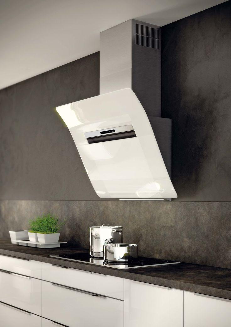 Berbel diagonale design wasemschouw uitgevoerd in 'Wit glas'. Deze apparatuur is verkrijgbaar bij Keukencentrum P. de Haan te Langweer.