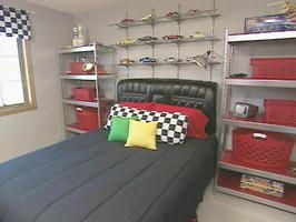 Boy's Racing Bedroom : Archive : Home & Garden Television A leather car seat from a 1969 Lincoln Continental is used for a twin-sized headboard. It's attached to the wall with wire strung on two chrome shower hooks.