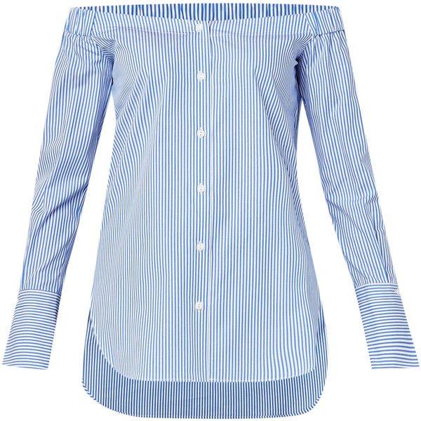 Kacy off-the-shoulder blouse van Rag & Bone, vervaardigd uit puur katoen en uitgevoerd in een all-over streepdessin. Dit eigentijdse ontwerp heeft een knoopslu…