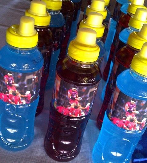 Blue & PInk Energade Bottles with Blue Bulls Labels