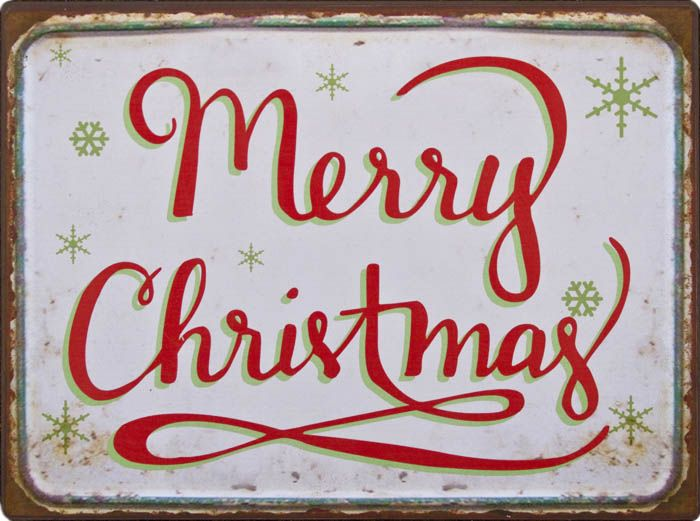 Skilte - jul: Merry Christmas - Butik Paradisets bamser, tøj og brugskunst