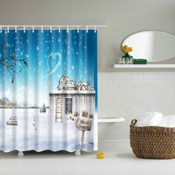 waterproof 3d winter snow scenery printed shower curtain cheap bathroom accessoriesbathroom