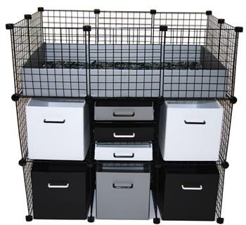 Mini cubbies in a small cage with double stand guinea for Guinea pig stand