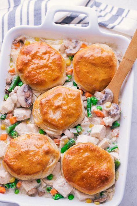 Easy Chicken Pot Pit Casserole will bring all things comfort food to your table. Loaded with chicken and biscuits, this creamy casserole is sensational from first bite.