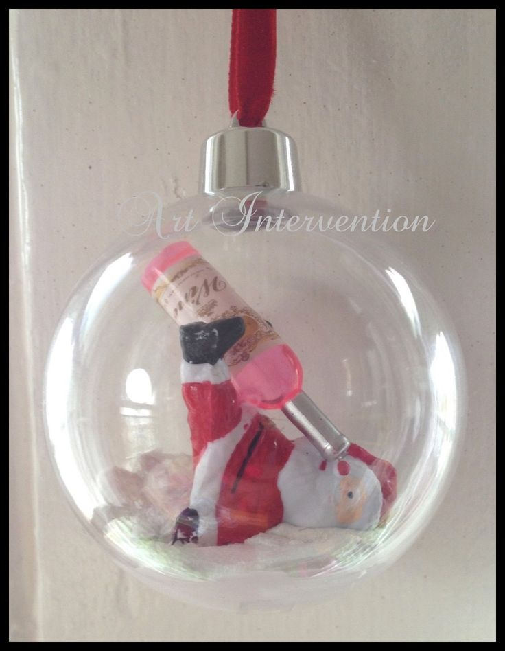 Drunk Santa, clear plastic Christmas/Xmas tree bauble. - Funny, Humour, wine, naughty, snow.  More can be found here: https://www.facebook.com/GeekCreatureCreations