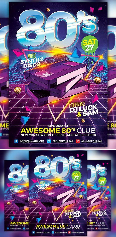 80s Club Flyer Template graphic design Pinterest Flyer