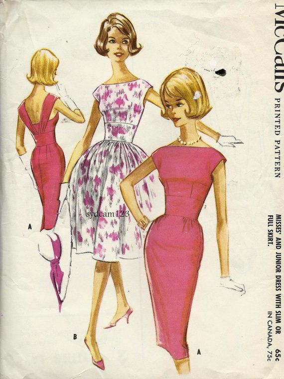 Vintage 1961 Low Back w Pleated Straps Bateau Neckline Dress...Full or Slim Skirt...McCalls 5895 Bust 36 UNCUT - ref. By Hand London Anna