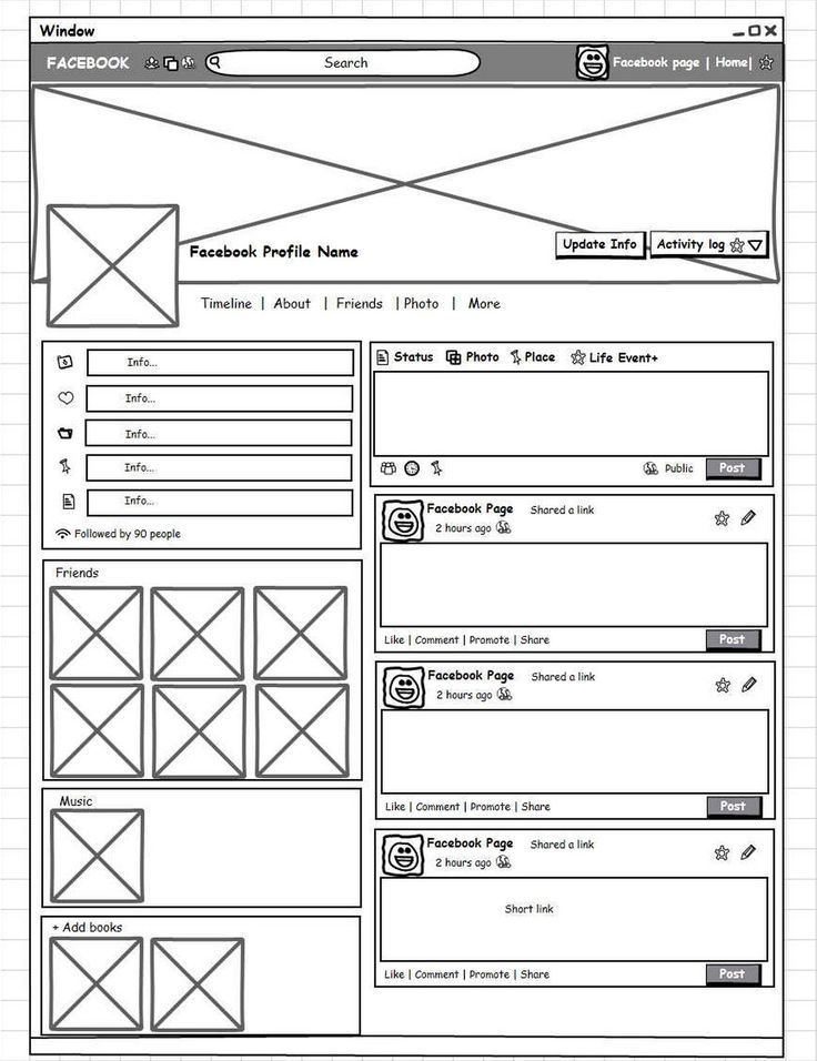 Facebook profile page wireframe. Available for free: http://mockupbuilder.com/Gallery/214