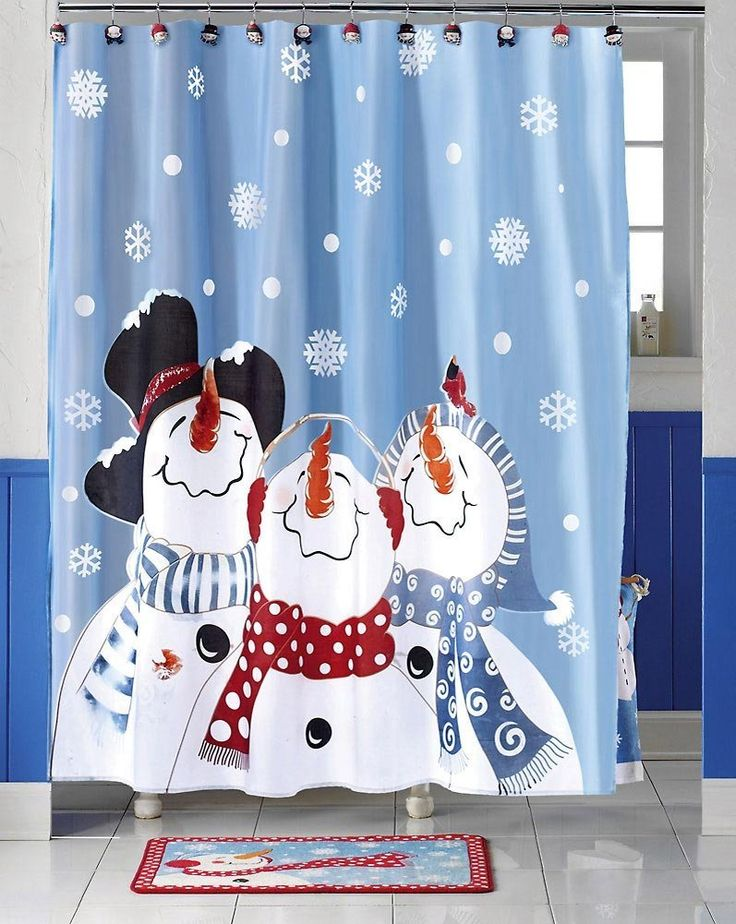 Lenox Holiday Shower Curtain Part - 44: Frosty Friends Snowman Christmas Holiday Bathroom Curtain