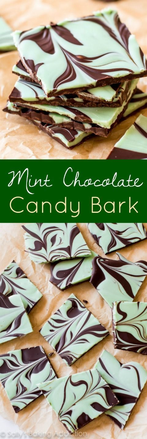 Easy Mint Chocolate Swirl Bark on sallysbakingaddic...-- one of the easiest treats you'll make!