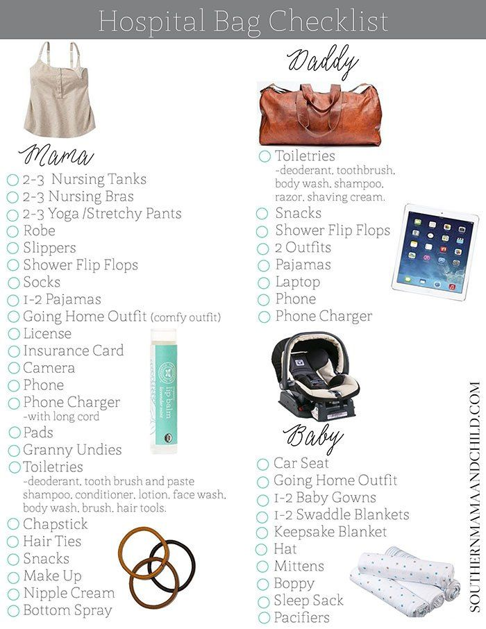 A great list of everything you will need when packing your hospital bag! Plus, enjoy a free checklist printable to make packing easier!