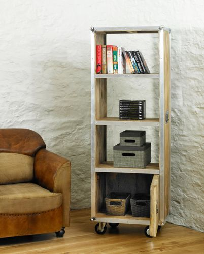 Roadie Chic Tall Bookcase with door  #furniture #woodfurniture #wooden #oak #oakfurniture #livingroom #lounge #home #interior #homedecor #bookcase #storage #living #modern #chic #wheels #chair #sofa #books