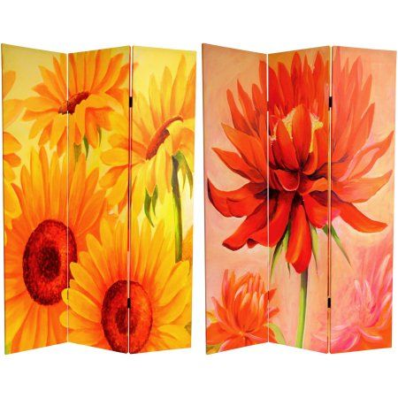6' Tall Double Sided Poppies and Sunflowers Canvas Room Divider, Multicolor